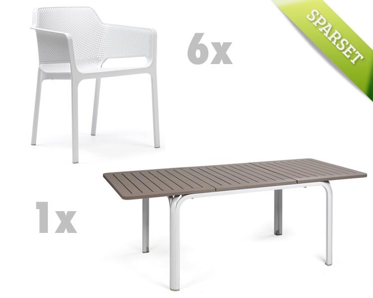 Gartenmöbel Set Holz Weiß ~ Gartenmöbel set nardi «net alloro weiß taupe set sitzgruppe