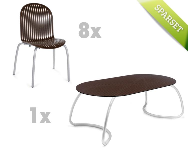 Gartenmöbel-Set NARDI Ninfea Loto 190 caffé Set 2 Sitzgruppe