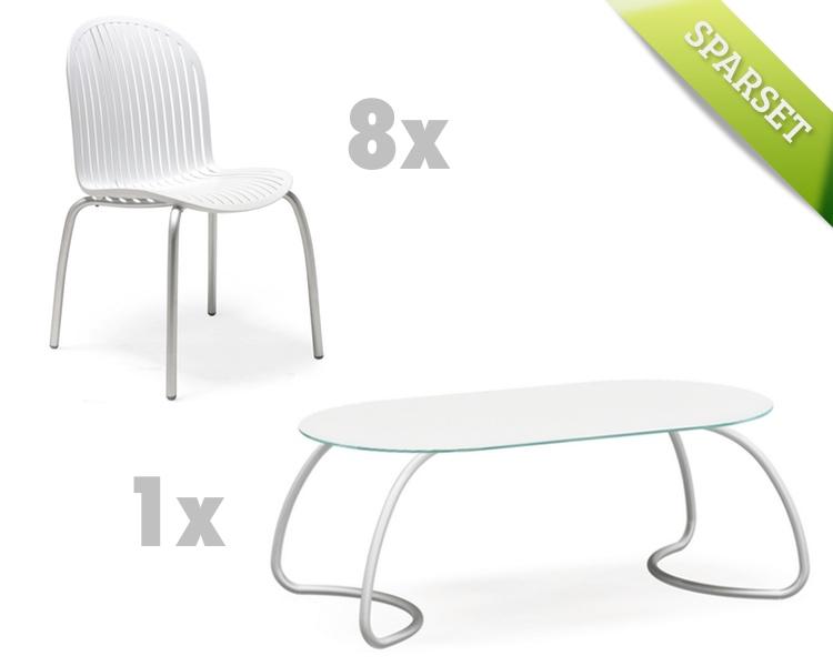 Gartenmöbel-Set NARDI Ninfea Loto 190 weiß Set 3 Sitzgruppe