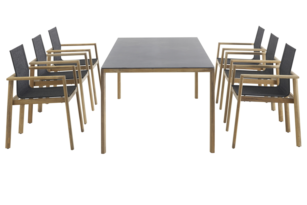 Sitzgruppe SOLPURI Safari Gartenmöbel-Set 1 Teakholz, Textilene