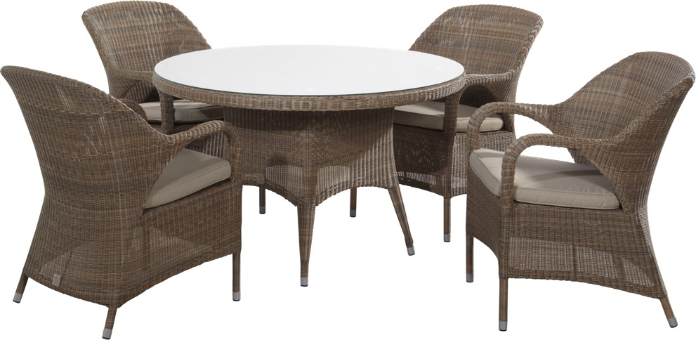 Luxus-Sitzgruppe aus Polyrattan-Geflecht Sussex Dining Gartenm�bel-Set