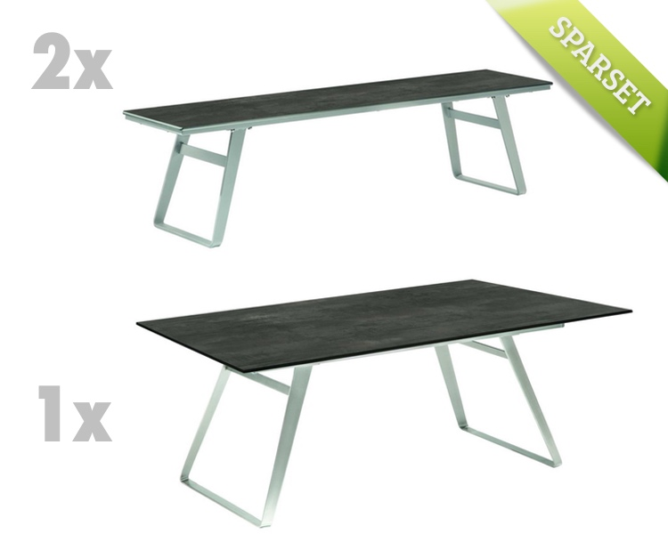 gartenbank niehoff ninon bank 200cm ohne r ckenlehne hpl. Black Bedroom Furniture Sets. Home Design Ideas