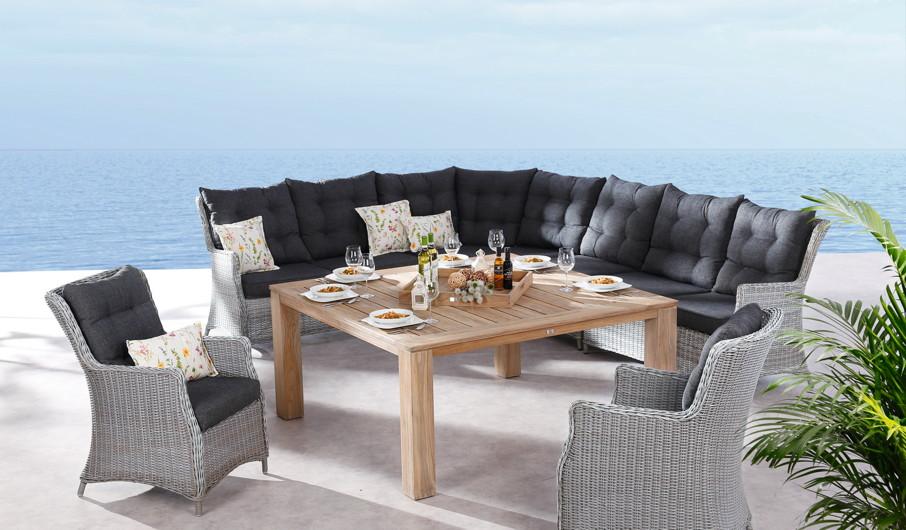 Cosy-Lounge Sitzgruppe BEST Barcelona Gartenmöbelset Polyrattan-Geflecht