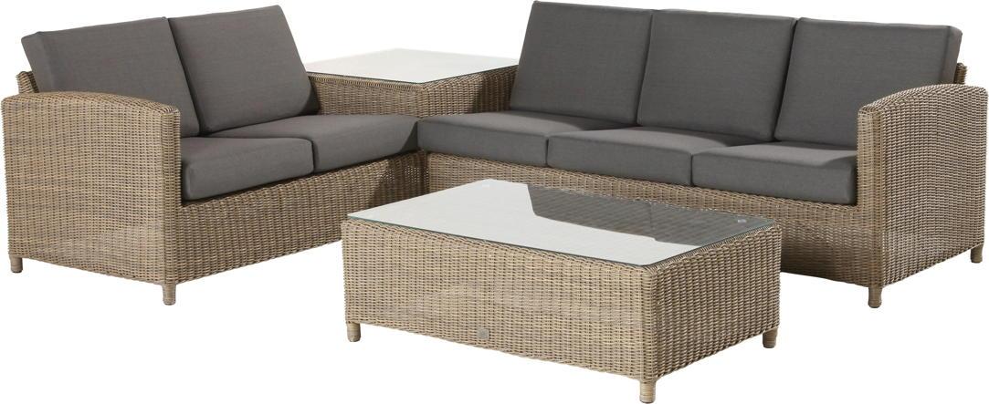 Premium-Polyrattan-Gartenm�belset Lodge Eck-Sitzgruppe Lounge-Couch Glastisch