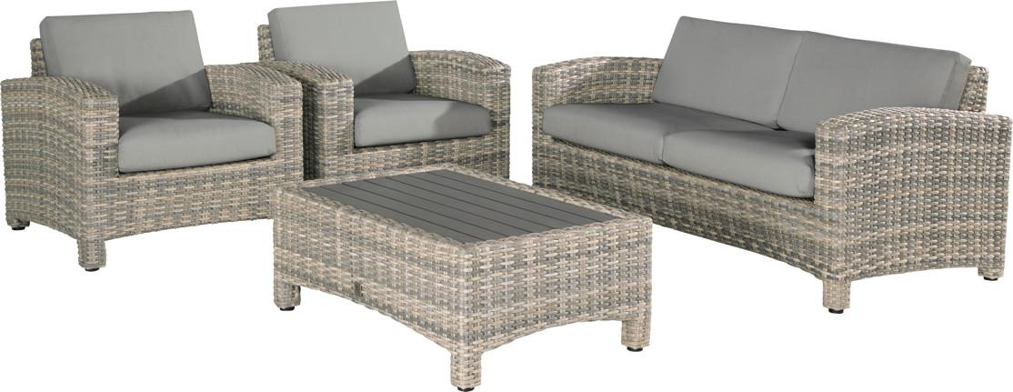 Premium-Polyrattan-Gartenm�belset Mambo Lounge-Couch Glastisch