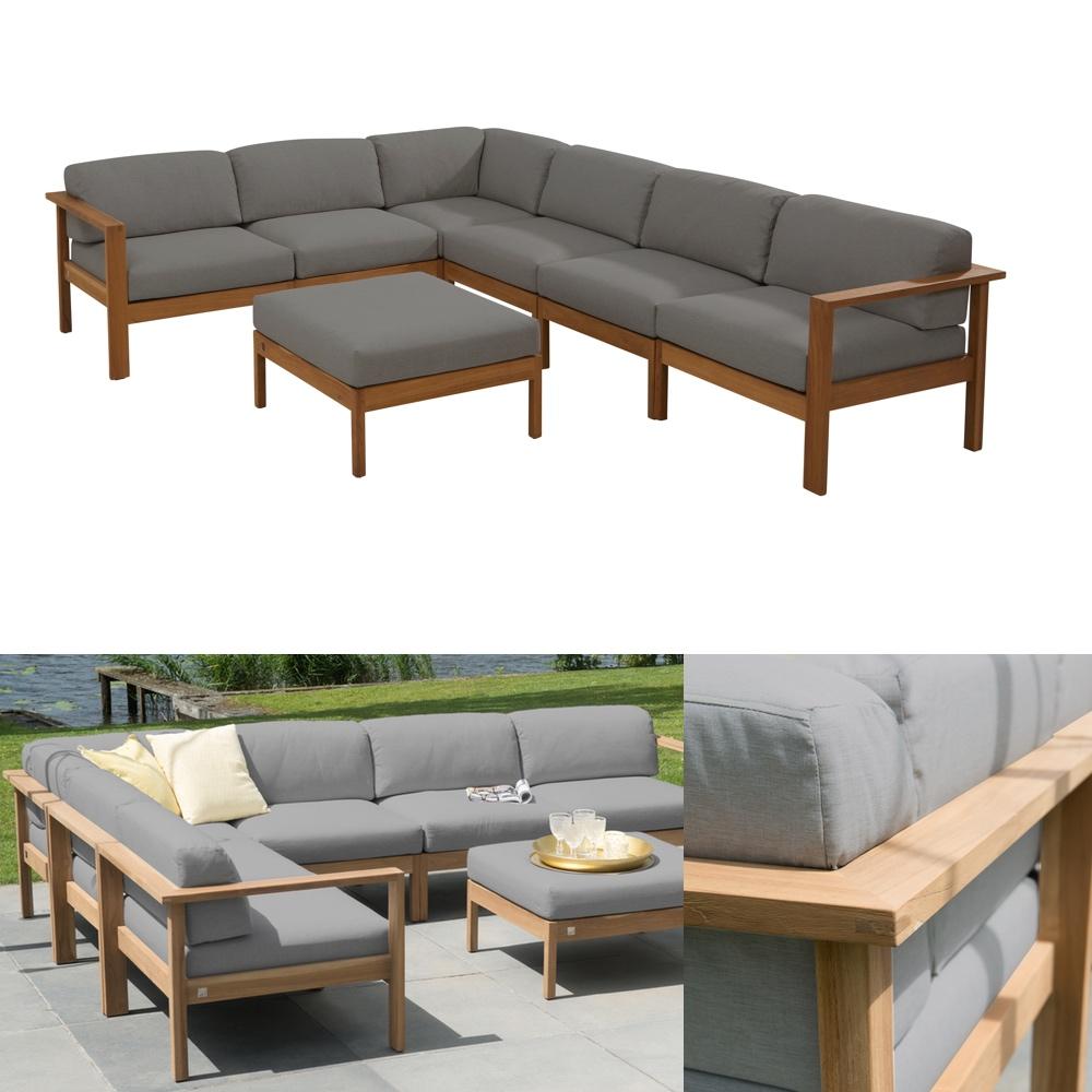 Sitzgruppe 4Seasons Lido Teak Gartenmöbel Set 2 Teakholz Kissen