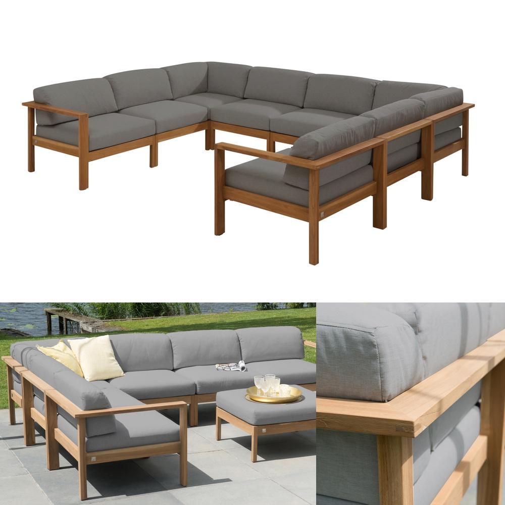 Sitzgruppe 4Seasons Lido Teak Gartenmöbel Set 3 Teakholz Kissen