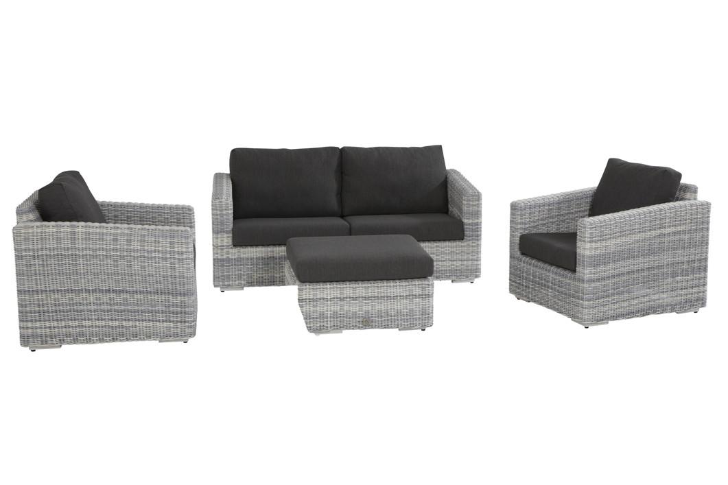 Polyrattan-Gartenbank «Edge Ice» Sofa 2,5 Sitzer Geflecht Lounge ...