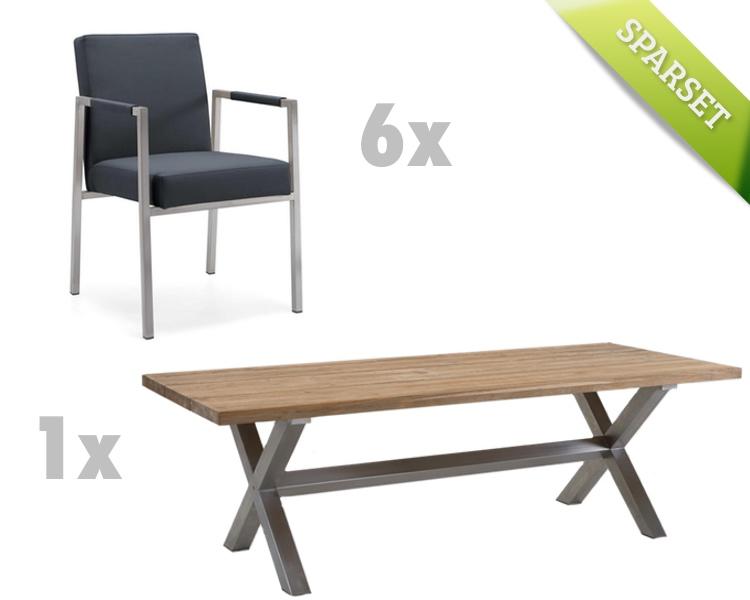 gartentisch niehoff nona esstisch 200x95 teakholz recycled gartenm bel fachhandel. Black Bedroom Furniture Sets. Home Design Ideas