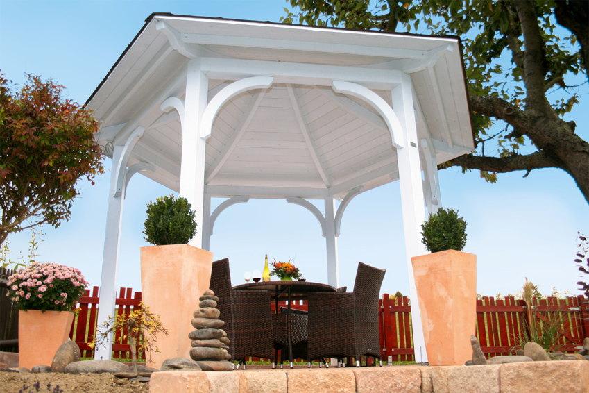 pavillon skanholz versailles 6 eck pavillion pavillon garten laube aus holz pavillion. Black Bedroom Furniture Sets. Home Design Ideas
