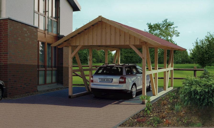 Holz-Carport SKANHOLZ Schwarzwald Einzelcarport mit Dach Fachwerk Carport