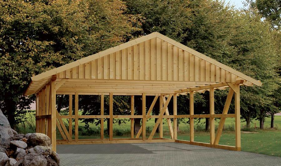 Holz carport skanholz schwarzwald fachwerk doppelcarport for Was ist ein fachwerk
