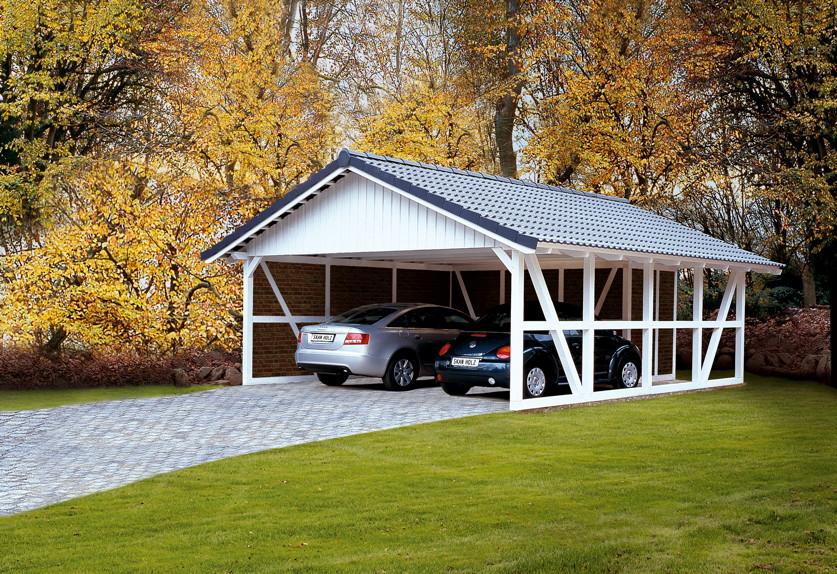Holz carport skanholz schwarzwald fachwerk doppelcarport for Fachwerk winkel