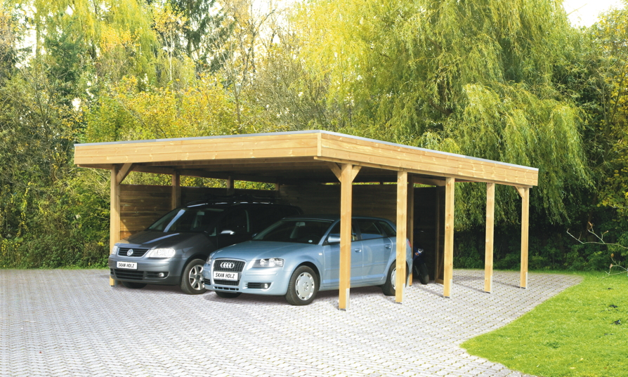 holz carport bausatz skanholz friesland aluminiunmdach flachdach doppelcarport carports aus. Black Bedroom Furniture Sets. Home Design Ideas