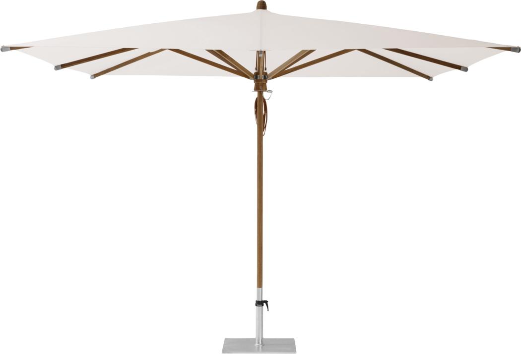 Sonnenschirm GLATZ Holz-Stockschirm mit Flaschenzug Teakwood eckig|rund