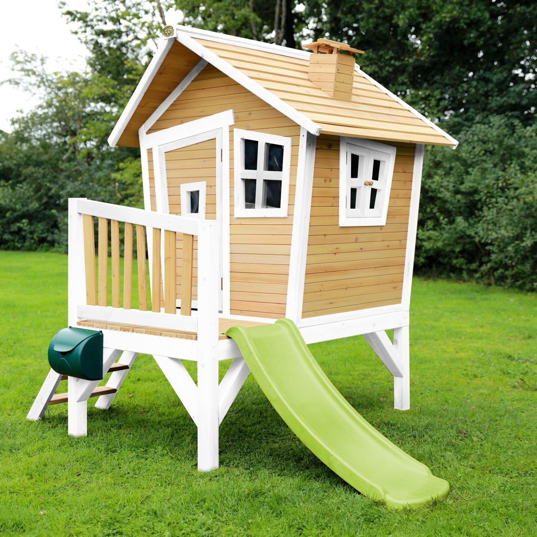 Holz-Kinder-Spielhaus Krummy klein Gartenhaus Comic Stelzenhaus Rutsche weiß