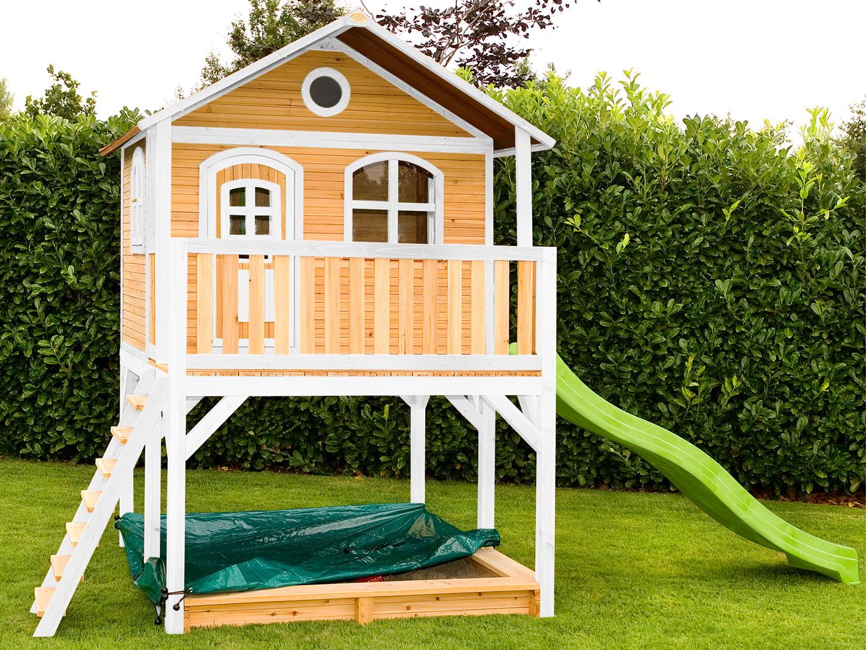 Holz-Kinderspielhaus auf Stelzen Sandkasten Garten 173x113cm Innenmaß braun/weiß