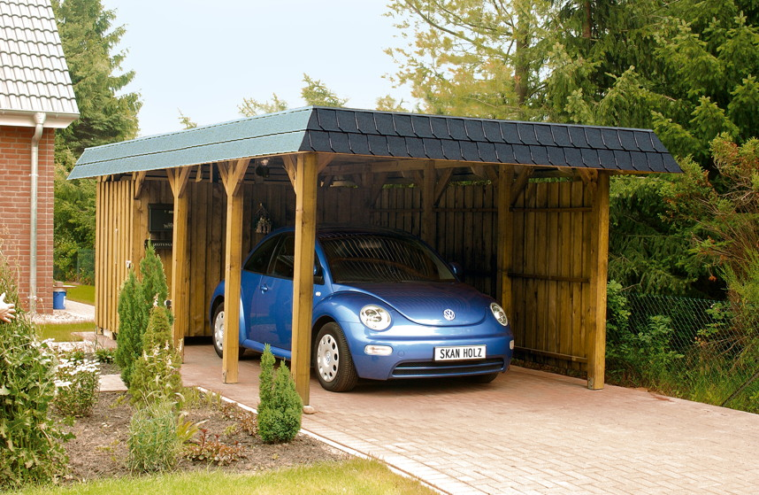 holz carport skanholz spreewald walmdach einzelcarport carport aus holz selber bauen. Black Bedroom Furniture Sets. Home Design Ideas