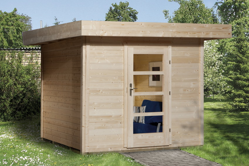 Gartenhaus Flachdach Lounge Größe 2 WEKA TYP 172 mit Einzeltür Holz Haus Bausatz