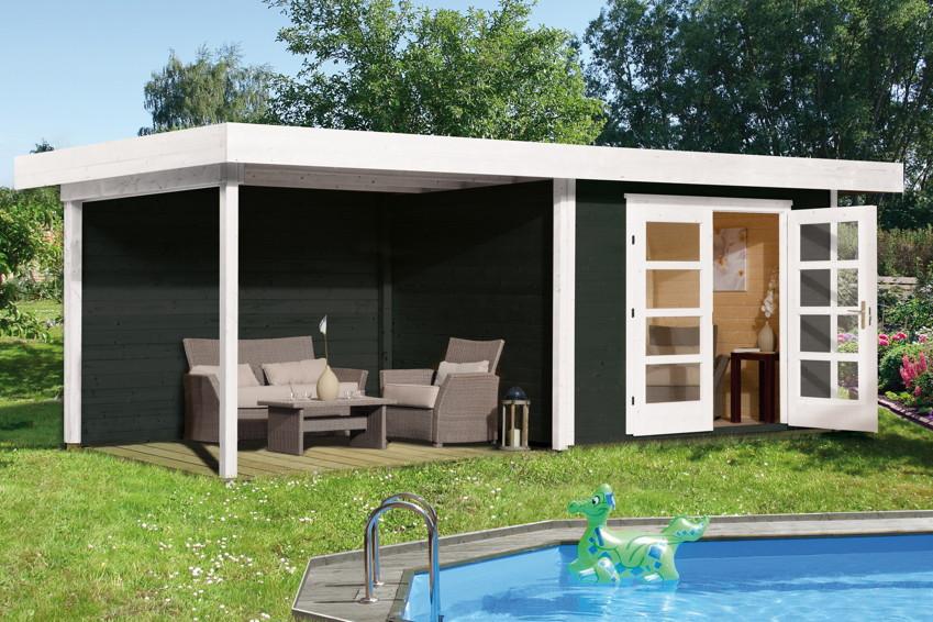 Gartenhaus Holz Mit Schleppdach ~   mit DOPPELTÜR Holz Bausatz  Gartenhaus aus Holz günstig kaufen im