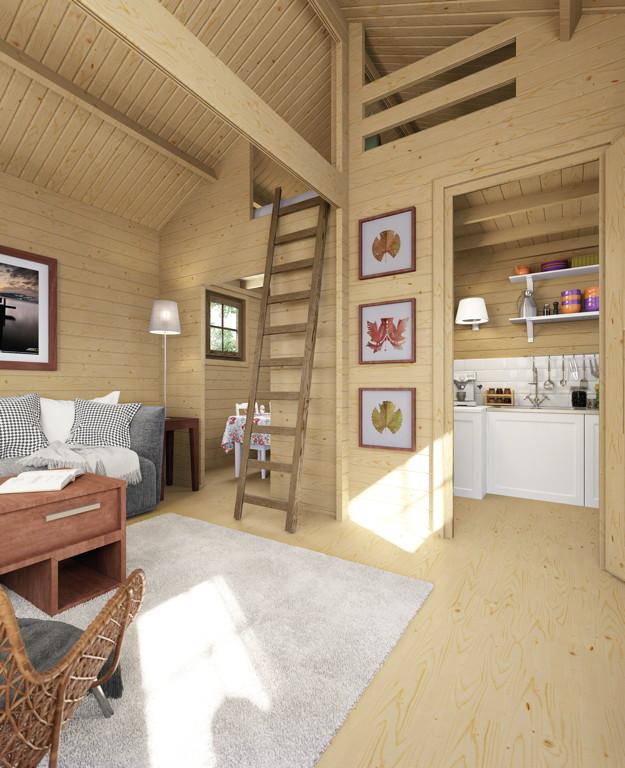 Gartenhaus Holz Von Innen Streichen ~ Innenansicht mit Beispieleinrichtung