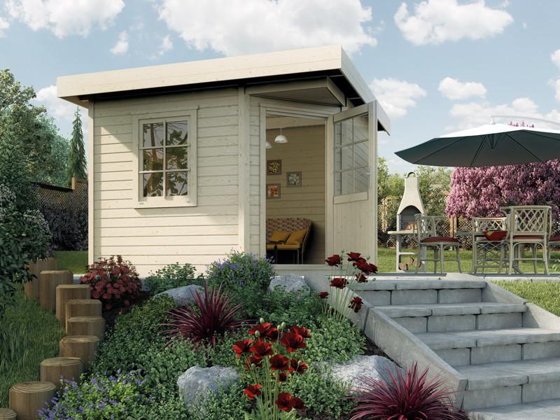 Gartenhaus Flachdach WEKA Designhaus 213 Größe 1 Fünf-Eck-Holz Haus Bausatz