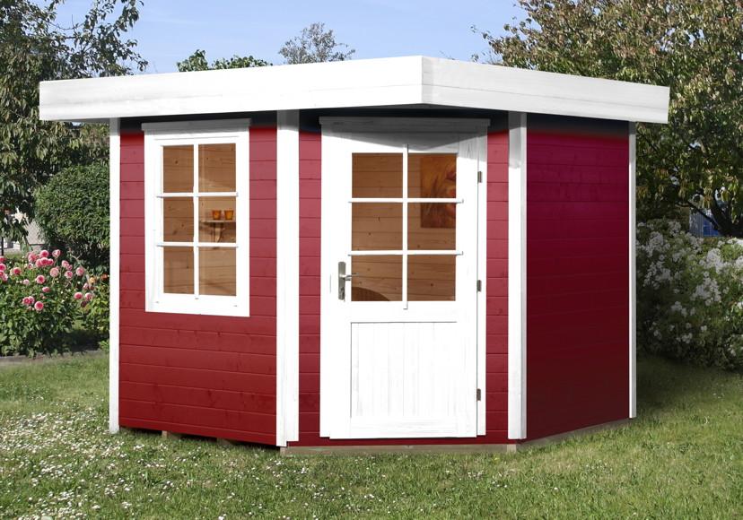 Gartenhaus streichen schwedenrot  Gartenhaus Flachdach WEKA «Designhaus 213 Größe 2» Fünf-Eck-Hhaus ...