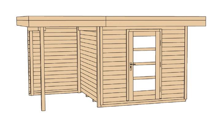 gartenhaus flachdach lounge gr e 1 weka typ 172 mit einzelt r holz haus ebay. Black Bedroom Furniture Sets. Home Design Ideas