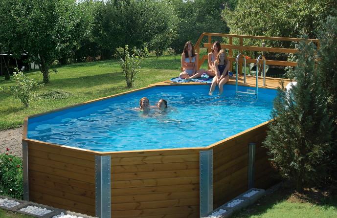 Swimmingpool holz  Holzpool WEKA Korfu - Schwimmbecken aus Holz, Swimmingpool ...