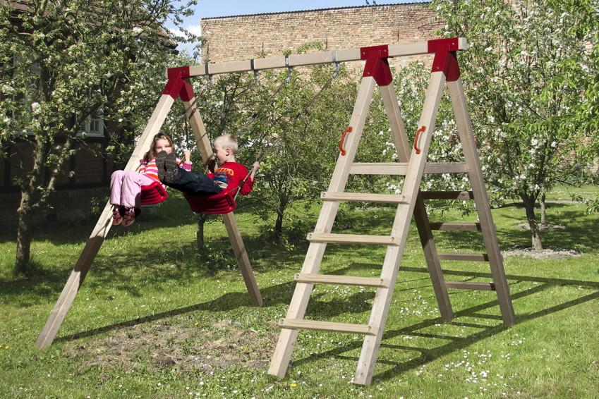 Kinder-Schaukel WEKA RED POINT Sunny | Funny 2 Doppelschaukel mit Leiteranbau