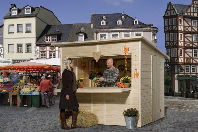 Verkaufsstand Verkaufsbude Holz-Marktstand-Bausatz mit großer Theke 2.4x2m