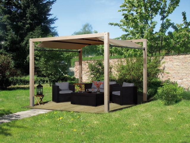 Gartenpavillon modern  Holz-Pavillon 320x320cm mit Planendach Premium-Gartenpavillon 3x3m ...