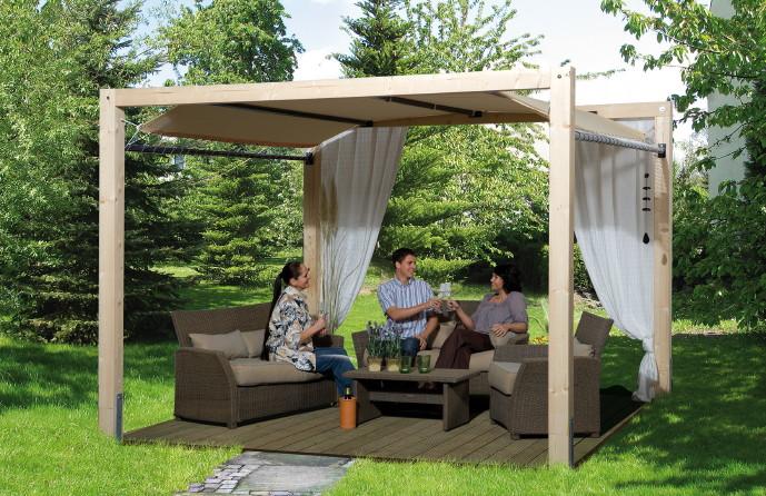 Holz Pavillon 320x320cm Mit Planendach Premium