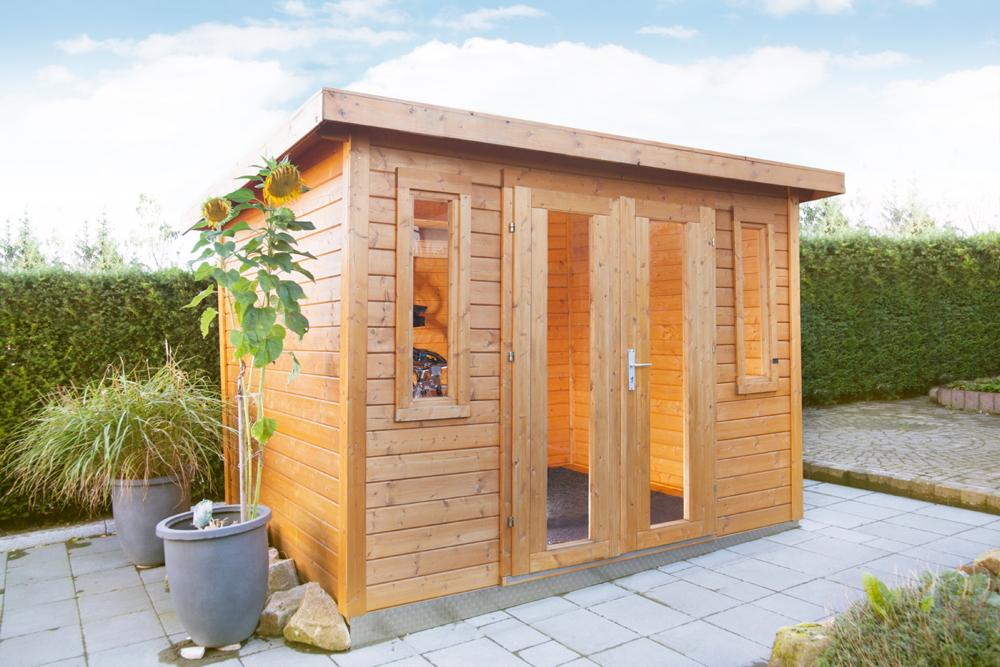 Gartenhaus Flachdach 300x240 Holz Haus Bausatz Mit Doppeltur