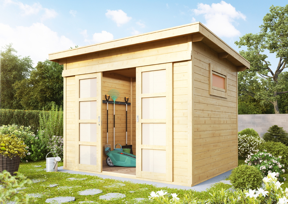 Gartenhaus Flachdach 240x300 Cm Holz Haus Bausatz Mit Schiebetur