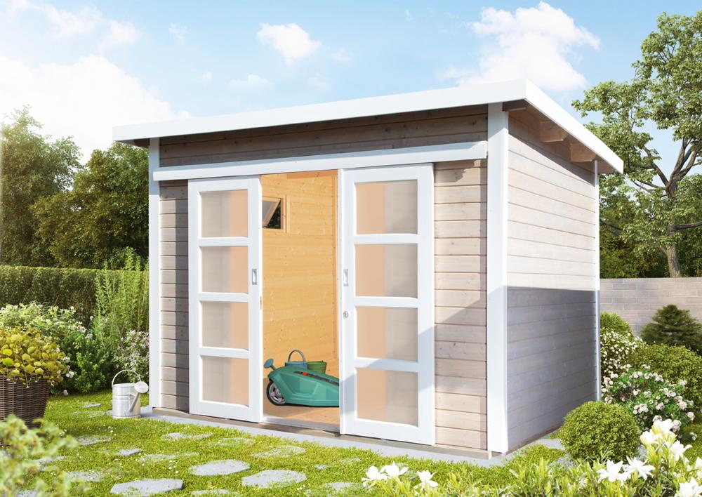 Gartenhaus Flachdach 300x300 Cm Holz Haus Bausatz Mit Schiebetur