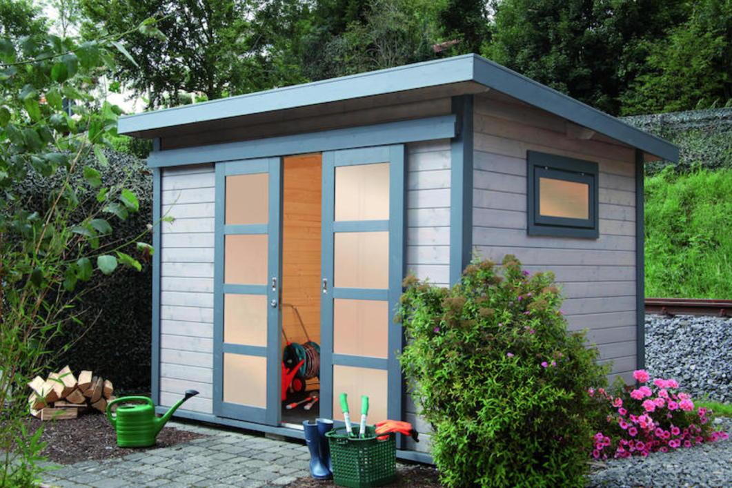 gartenhaus flachdach 240x300 cm holz haus bausatz mit. Black Bedroom Furniture Sets. Home Design Ideas