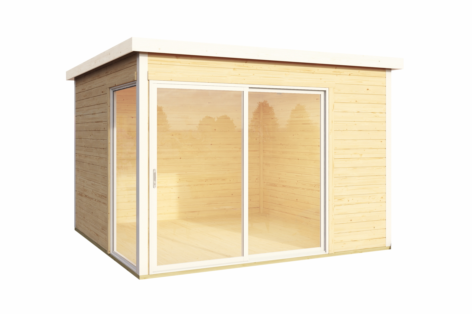 Gartenhaus Flachdach 300x300 cm Holz Haus Bausatz mit großer Schiebetür