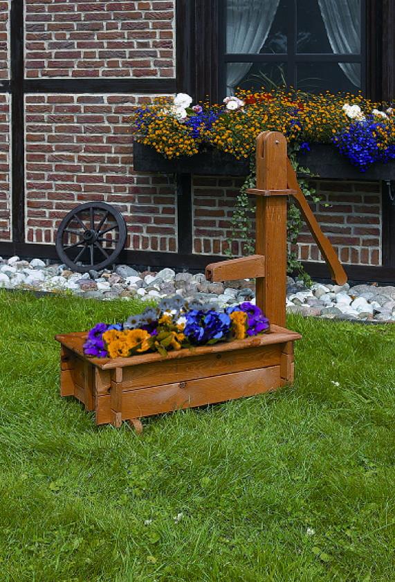 Zierbrunnen PROMADINO «Holztrog» Pflanzkübel aus Holz ...