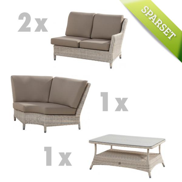 4SEASONS Brighton Sitzgruppe Loungegruppe mit Tisch 140x90 cm, HULARO-Faser
