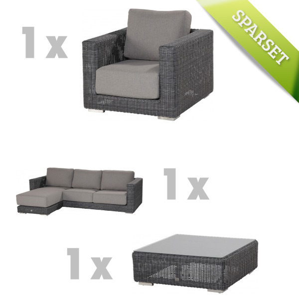 Polyrattan-Outdoor-Sitzgruppe Somerset Lounge Geflecht Loungegruppe