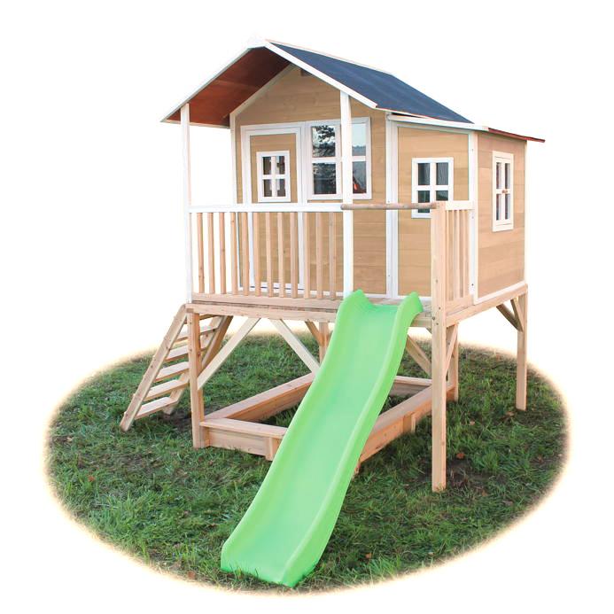 Sehr Kinder-Spielhaus großes Stelzen-Kinderspielhaus Holz natur Rutsche JQ84
