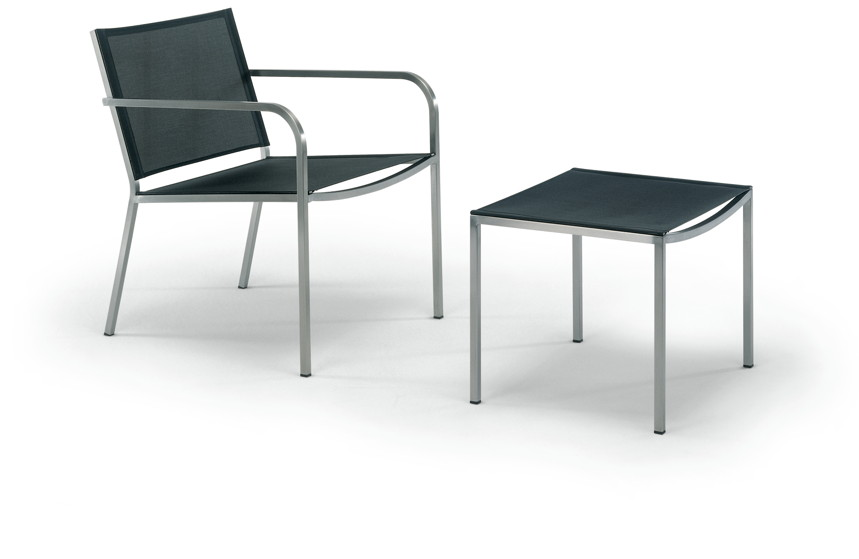 Gartenstuhl FISCHER ?Helix? Lounge Sessel Edelstahlsessel mit Textilene