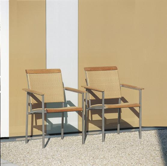 Gartenstuhl FISCHER ?La Piazza- Sahara? Sessel Edelstahlstuhl mit Textilene