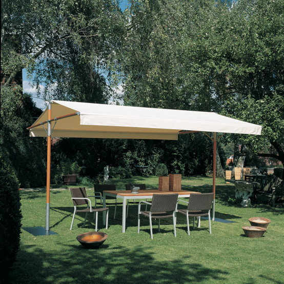 FISCHER WOODLINE ?Sonnendach Piuma? mit Edelstahlgestell Pavillon