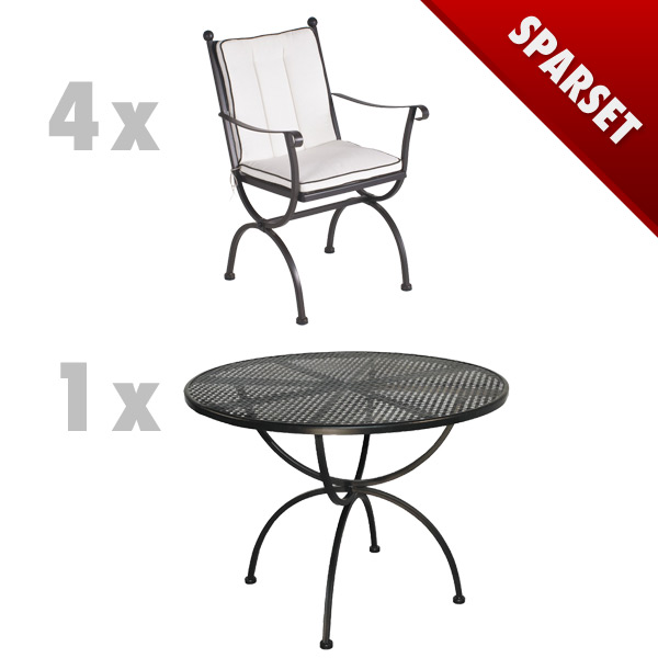 gartenm bel set mbm romeo set1 sitzgruppe schmiedeeisen ebay. Black Bedroom Furniture Sets. Home Design Ideas