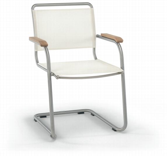 Gartenstuhl FISCHER ?Swing? Sessel Freischwinger Edelstahlsessel mit Textilene
