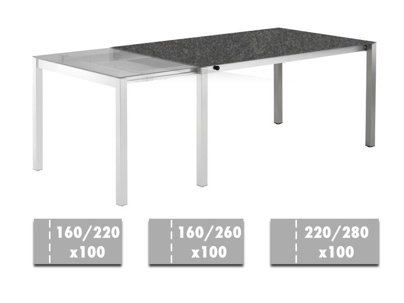 tisch unit hochglanz weiss edelstahl geburstet 180 240x90. Black Bedroom Furniture Sets. Home Design Ideas