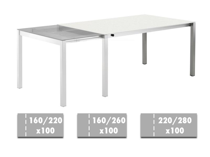 Ausziehtisch SOLPURI «Atelier Edelstahl» Keramikplatte white  220
