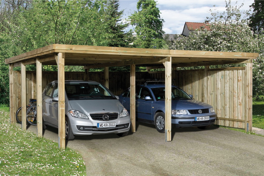holz carport bausatz weka optima 3 doppelcarport ebay. Black Bedroom Furniture Sets. Home Design Ideas
